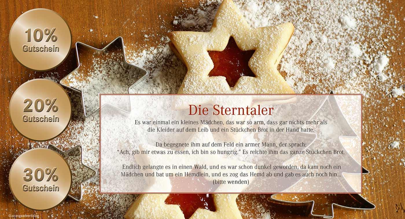 Mailing Sterntaler zu Weihnachten mit Plätzchen