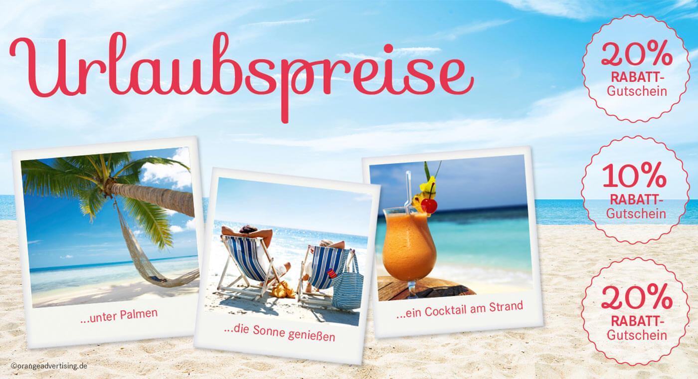 Mailing Urlaubpreise mit Polaroids und Strand