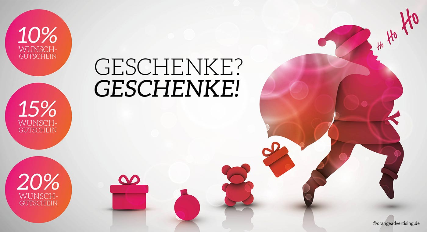 Mailing Weihnachtsmann mit Geschenken