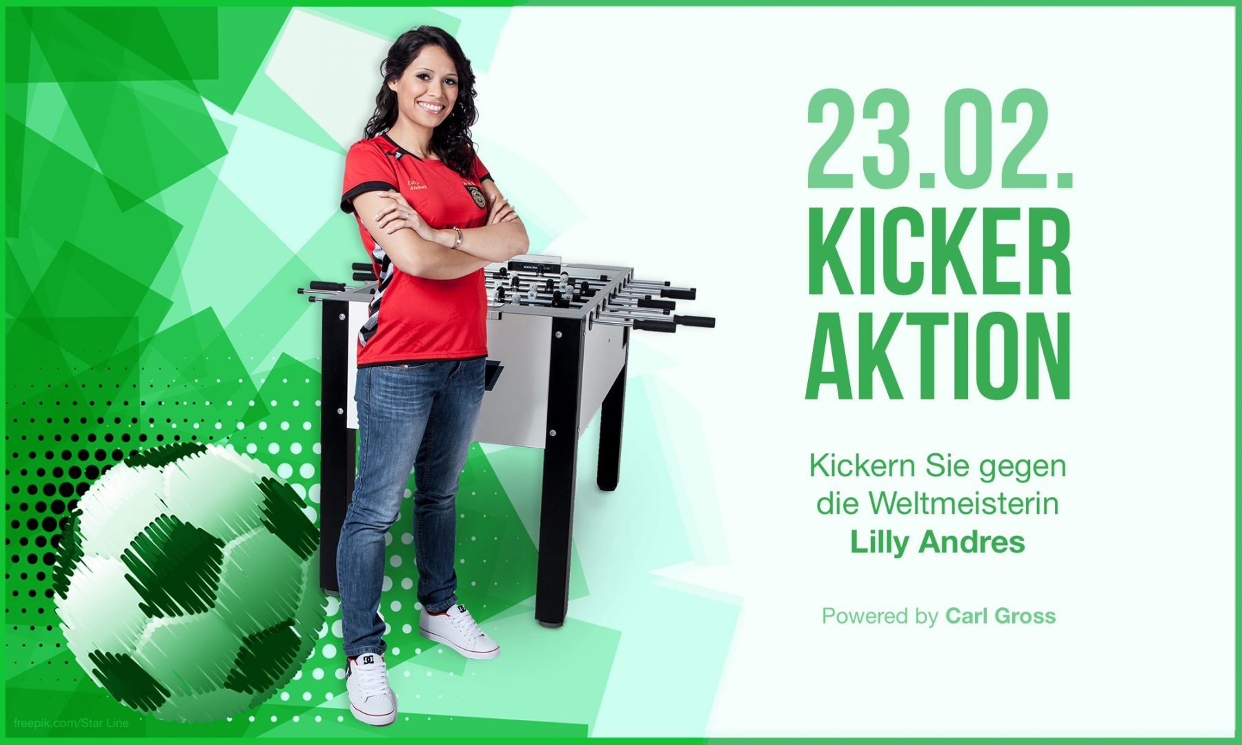 Tischkicker Aktion am 23.02.2019 mit Weltmeisterin